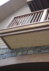 Douglas Fir beams balcony