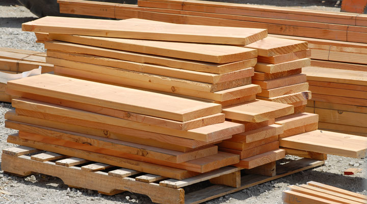 stacks of lumber boards